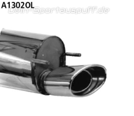 Bastuck Edelstahl Racing-Komplettanlage ab Kat Opel Tigra A S93 Coupe 153x95mm oval eingerollt gerade mit Absorber