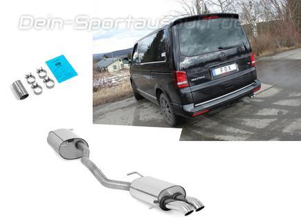 Fox Edelstahl Sportauspuff-Komplettanlage ab Kat VW T5 Bus 2x63mm Dieseloptik scharf 45° nach unten gebogen