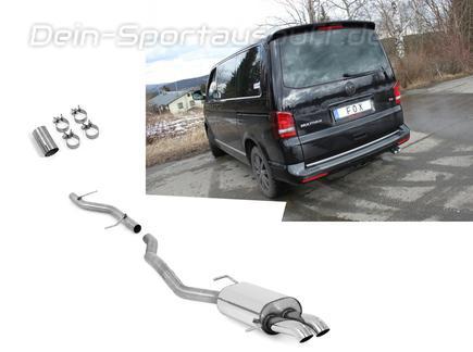 Fox Edelstahl Racing-Komplettanlage ab Kat. VW T5 Bus 2x63mm Dieseloptik scharf 45° nach unten gebogen