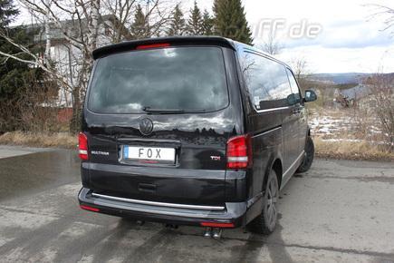 Fox Edelstahl Sportauspuff-Komplettanlage ab Kat VW T5 4motion Caravelle Kombi Multivan 2x63mm Dieseloptik scharf 45° nach unten gebogen
