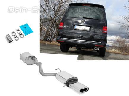 Fox Edelstahl Sportauspuff-Komplettanlage ab Kat VW T5 4motion Caravelle Kombi Multivan 160x80mm flachoval eingerollt abgeschrägt mit Absorber