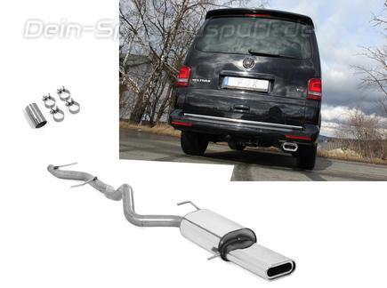Fox Edelstahl Racing-Komplettanlage ab Kat. VW T5 4motion Caravelle Kombi Multivan 160x80mm flachoval eingerollt abgeschrägt mit Absorber