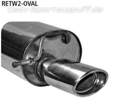 Endschalldämpfer Sport Auspuff Renault Clio B 2 135x75mm oval gerade mit ABE