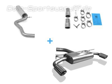 Fox Edelstahl Duplex Sportauspuff-Komplettanlage ab Kat VW Golf 7 GTI je 90mm rund doppelwandig abgeschrägt