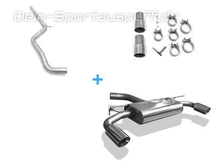 Fox Edelstahl Duplex Racing-Komplettanlage ab Kat VW Golf 7 GTI je 90mm rund doppelwandig abgeschrägt