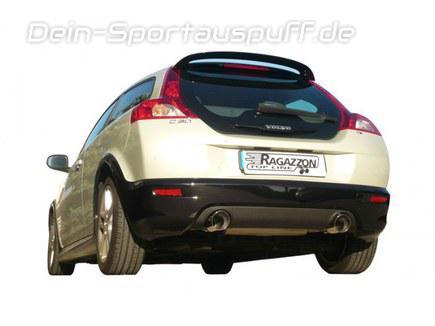 Ragazzon Edelstahl Duplex Racing-Komplettanlage ab Kat Volvo C30 T5 je 102mm rund doppelwandig abgeschrägt