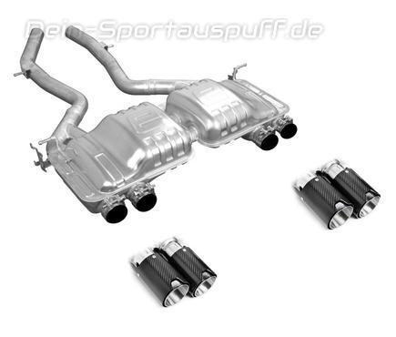 Eisenmann Edelstahl Duplex Sportauspuff BMW 4er M4 F82 Coupe F83 Cabrio je 2x90mm rund aus Carbon