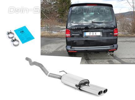 Fox Edelstahl Sportauspuff VW T5 Bus 2x88x74mm oval eingerollt abgeschrägt mit Absorber