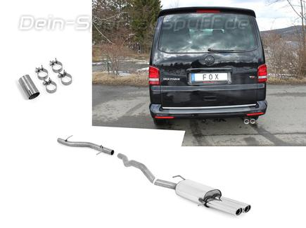 Fox Edelstahl Racing-Komplettanlage ab Kat VW T5 Bus 2x88x74mm oval eingerollt abgeschrägt mit Absorber