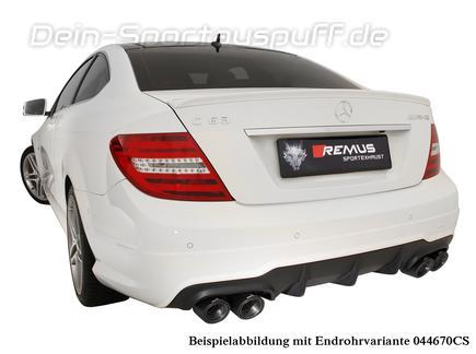 Remus Edelstahl Duplex Komplettanlage ab Kat Mercedes C-Klasse C63 AMG W204 S204 Limousine und T-Modell inklusive Endrohrsatz nach Wahl