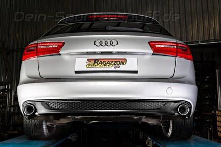 Ragazzon Edelstahl Duplex Racing-Komplettanlage ab Kat Audi A6 4G Typ C7 Limo u. Avant 2.0TDI 130kW je 90mm rund eingerollt gerade