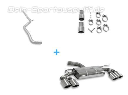 Fox Edelstahl Duplex Racing-Komplettanlage ab Kat VW Golf 7 GTI in R-Optik je 2x115x85mm oval eingerollt abgeschrägt