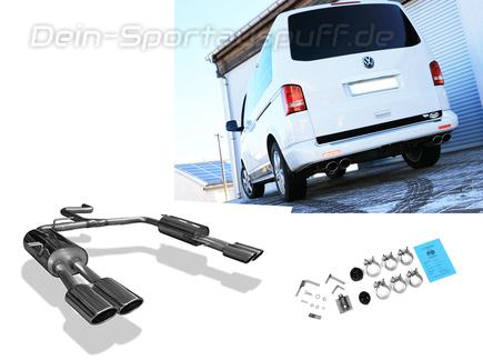 FOX Edelstahl Duplex Sportauspuff VW T5 Bus je 2x115x85mm oval eingerollt abgeschrägt
