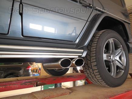 FOX Edelstahl Endrohr zum Anschrauben Mercedes G-Klasse G 350d W463 2x115x85mm oval eingerollt seitlich abgeschrägt
