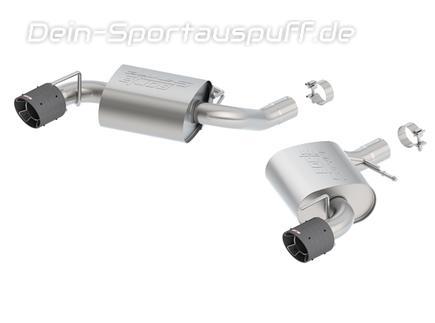 Borla S-TYPE Edelstahl Duplex Sportauspuff Ø70mm-System Chevrolet Camaro SS V8 Modelljahr 2016-17 je 114mm rund abgeschrägt aus Carbon mit Alu Inlet
