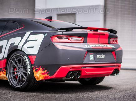 Borla ATAK Edelstahl Duplex Sportauspuff-Komplettanlage ab Kat Ø76mm-System Chevrolet Camaro SS V8 Modelljahr 2016-17 je 2x102mm rund abgeschrägt aus Carbon mit Alu Inlet