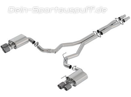 Borla ATAK Edelstahl Duplex Komplettanlage ab Kat mit Klappensteuerung Ford Mustang 6 GT Facelift ab 08/2017 je 2x102mm rund abgeschrägt aus Carbon mit Alu-Inlet