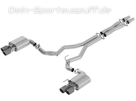 Borla ATAK Edelstahl Duplex Komplettanlage ab Kat mit Klappensteuerung Ford Mustang 6 GT Facelift ab 08/2017 je 2x102mm rund abgeschrägt aus Carbon mit schwarzem Inlet