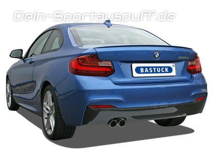 Bastuck Edelstahl Komplettanlage ab Kat BMW 2er F22 Coupe F23 Cabrio 2.0l Turbo 2x76mm rund scharf abgeschrägt