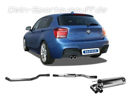 Bastuck Edelstahl Sportauspuff-Komplettanlage ab Kat BMW 1er F20 F21 1.6l Turbo 2x76mm rund eingerollt abgeschrägt