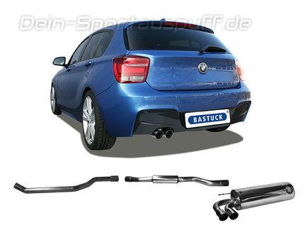 Bastuck Edelstahl Sportauspuff-Komplettanlage ab Kat BMW 1er F20 F21 1.6l Turbo 2x76mm rund scharf abgeschrägt