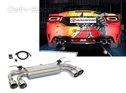 Ragazzon Edelstahl Duplex Klappenauspuff Fiat Abarth 124 Spider 1.4l je 2x90mm rund doppelwandig abgeschrägt