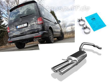 Fox Edelstahl Sportauspuff VW T5 4motion Caravelle Kombi Multivan 2x88x74mm oval eingerollt abgeschrägt
