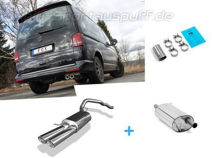 Fox Edelstahl Sportauspuff-Komplettanlage ab Kat VW T5 4motion Caravelle Kombi Multivan 2x88x74mm oval eingerollt abgeschrägt