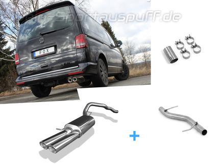 Fox Edelstahl Racing-Komplettanlage ab Kat VW T5 4motion Caravelle Kombi Multivan 2x88x74mm oval eingerollt abgeschrägt