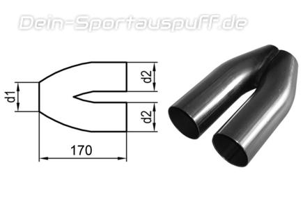 FOX Edelstahl Auspuff Y-Rohr Eingang/Ausgang 1x55mm/2x55mm Abstand 30mm Länge 170mm