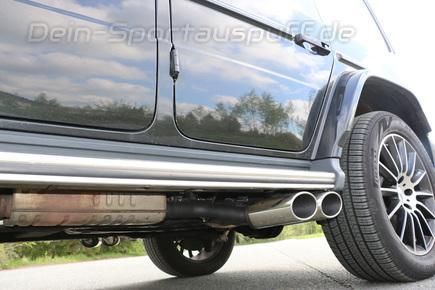 FOX Edelstahl Duplex Endrohrsatz Mercedes G-Klasse G500 W463A je 2x115x85mm oval eingerollt seitlich abgeschrägt