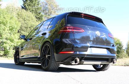 Fox Edelstahl Duplex Sportauspuff-Komplettanlage ab Kat VW Golf 7 GTI 245 je 114mm rund doppelwandig abgeschrägt