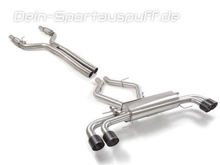 Ragazzon Edelstahl Duplex Racing-Komplettanlage ab Kat inkl. Klappensteuerung Alfa Romeo Giulia Quadrifoglio je 2x102mm rund scharfkantig abgeschrägt aus Carbon
