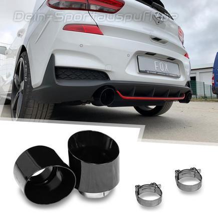 FOX Edelstahl Duplex Endrohrsatz Hyundai i30N Performance + Fastback je 114mm rund doppelwandig abgeschrägt schwarz glänzend