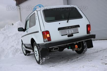 FOX Edelstahl Sportauspuff-Komplettanlage ab Kat Lada 4X4 Niva 145x65mm trapezförmig
