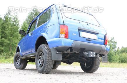 FOX Edelstahl Sportauspuff Lada Niva 4X4 Urban 90mm rund