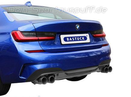 Bastuck Edelstahl Duplex Sportauspuff-Komplettanlage ab OPF BMW 3er G20 M340i xDrive Limousine je 2x90mm rund doppelwandig gerade aus Carbon