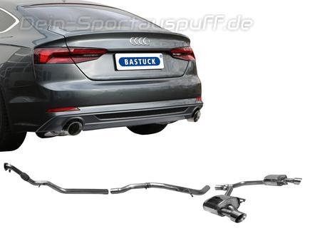 Bastuck Edelstahl Duplex Racing-Komplettanlage ab Kat Audi A5 B9 Typ F5 2.0l TFSI Quattro je 100mm rund doppelwandig