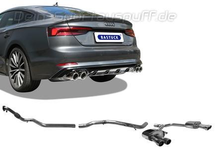 Bastuck Edelstahl Duplex Racing-Komplettanlage ab Kat Audi A5 B9 Typ F5 2.0l TFSI Quattro je 2x90mm rund eingerollt