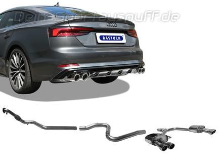 Bastuck Edelstahl Duplex Racing-Komplettanlage ab Kat Audi A5 B9 Typ F5 TFSI Frontantrieb je 2x90mm rund eingerollt