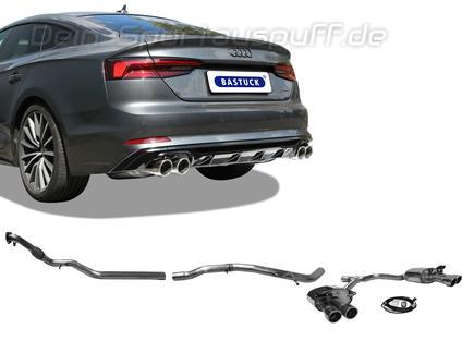 Bastuck Edelstahl Duplex Racing-Komplettanlage ab Kat mit Klappensteuerung Audi A5 B9 Typ F5 2.0l TFSI Quattro je 2x90mm rund eingerollt