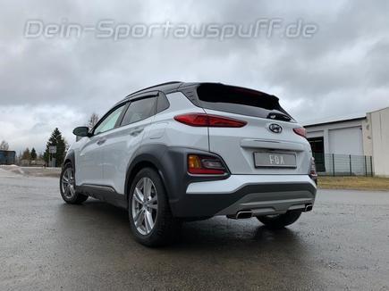 FOX Edelstahl Duplex Sportauspuffanlage ab Kat Hyundai Kona 4WD je 145x65mm trapezförmig