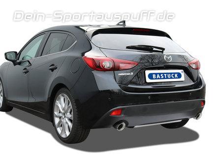 Bastuck Edelstahl Duplex Sportauspuff-Komplettanlage ab Kat Mazda 3 Typ BM 2.0l Skyactiv je 90mm rund doppelwandig abgeschrägt