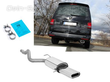 Fox Edelstahl Sportauspuff VW T5 4motion Caravelle Kombi Multivan 160x80mm flachoval eingerollt abgeschrägt mit Absorber