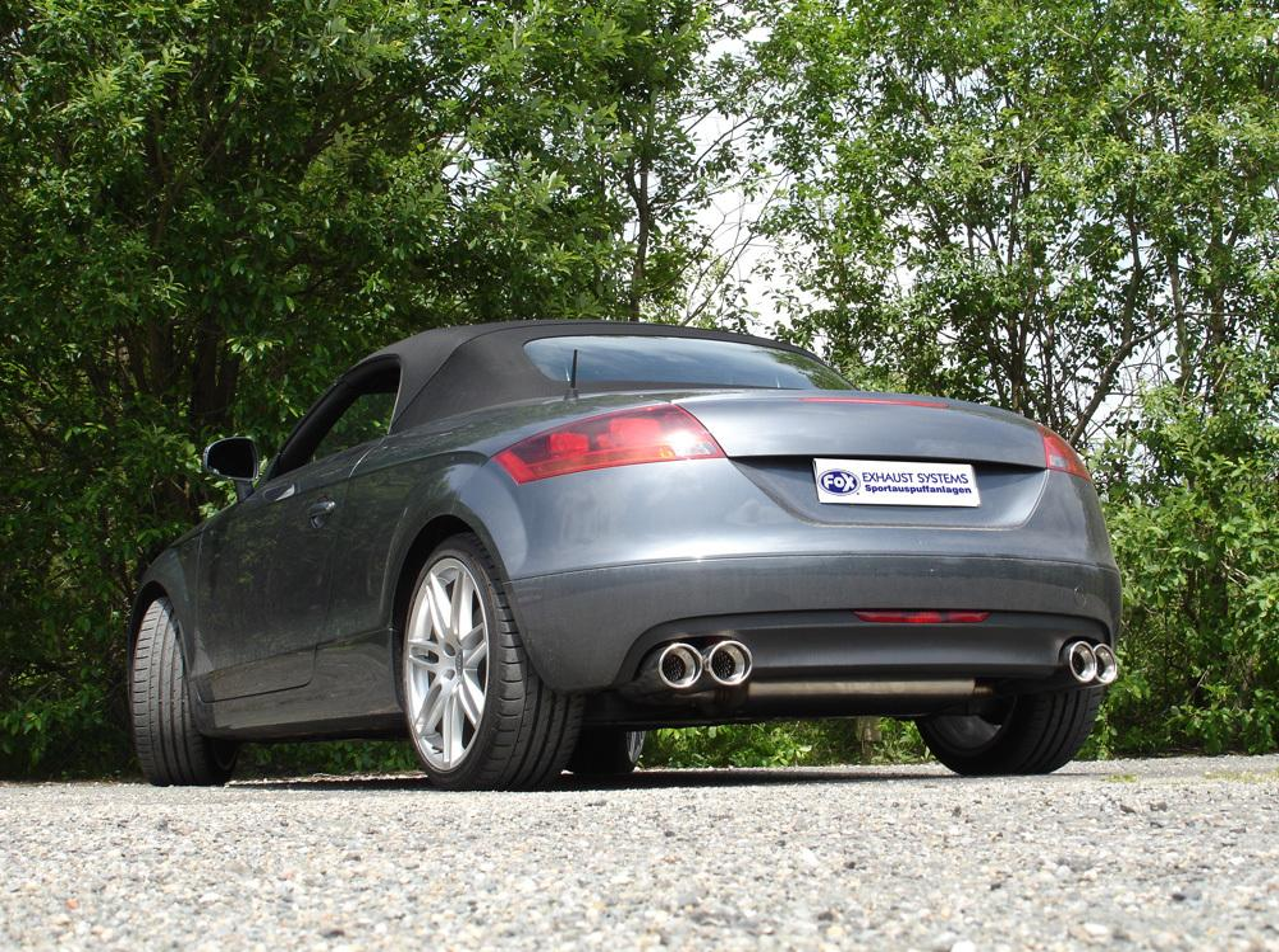 Roadster 2x100mm rund Fox Duplex Sportauspuff Audi TT 8J quattro Coupe u